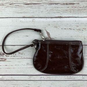 Authentic Coach Wristlet Patent Leather Brown K1